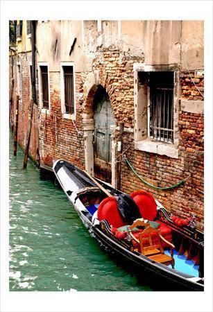 Gondola by a Brick Wall, Venice