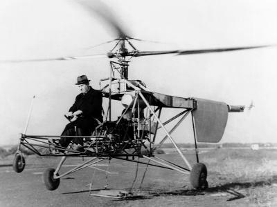 Igor Sikorsky at the Controls of the VS-300 Helicopter--Photo