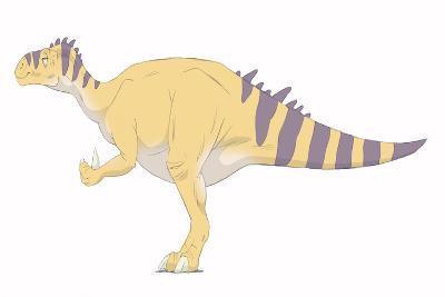 Iguanodon Pencil Drawing with Digital Color-Stocktrek Images-Art Print