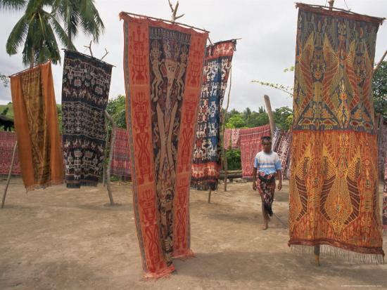 Ikat Cloths for Sale, Sumba (Soemba), Lesser Sundas, Indonesia, Southeast Asia, Asia-Ken Gillham-Photographic Print
