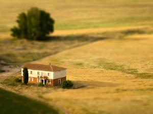A Tilt Shifted Country House on a Cereal Field by Ikerlaes