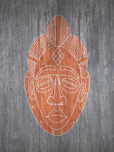 African Mask Orange by Ikonolexi