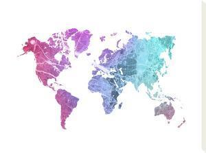 World Map Art Rainbow Marble by Ikonolexi