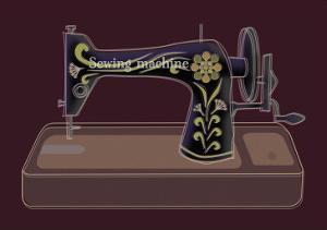 Sewing Machine in Purple by Ikuko Kowada