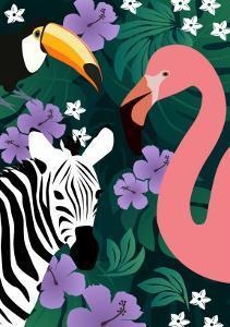 Zebra and Birds by Ikuko Kowada