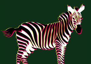 Zebra in Green Horizontal by Ikuko Kowada
