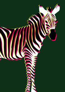 Zebra in Green Vertical by Ikuko Kowada