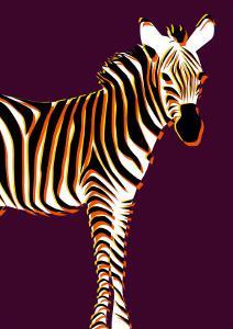 Zebra in Purple Vertical by Ikuko Kowada