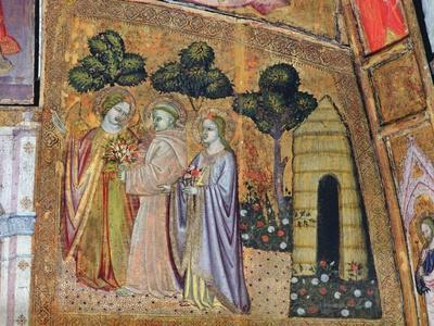 St Francis Accompanied by Two Angels, Fresco from the Porziuncola, 1393