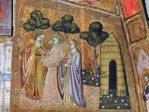 St Francis Accompanied by Two Angels, Fresco from the Porziuncola, 1393 by Ilario da Viterbo