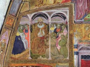 St. Francis Imploring Pope Honorius III for the Confirmation of the Indulgence, Fresco from the… by Ilario da Viterbo