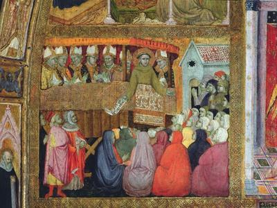 St. Francis Promulgates the Indulgence, Accompanied by the Bishops of Umbria, Fresco from the…