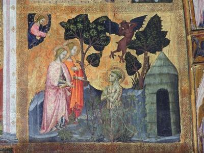 St Francis Throws Himself into the Thorny Brambles, Fresco from the Porziuncola, 1393