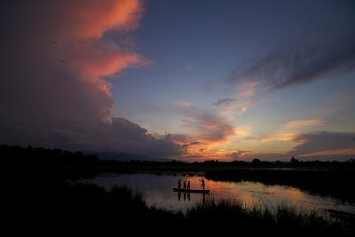 Illegal Fishermen On The Brahmaputra River At Sunset-Steve Winter-Photographic Print