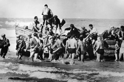 Illegal Jewish Immigrants Helped Ashore When Arriving Unseen by the British Navy on the…--Photographic Print