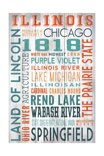 Illinois - Barnwood Typography-Lantern Press-Art Print