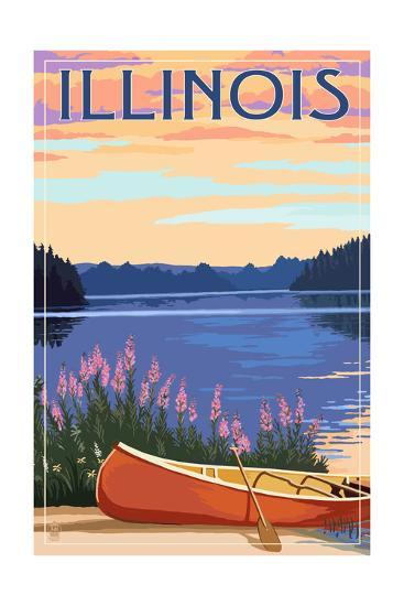 Illinois - Canoe and Lake-Lantern Press-Art Print