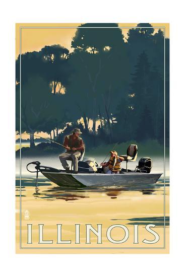 Illinois - Fishermen in Boat-Lantern Press-Art Print