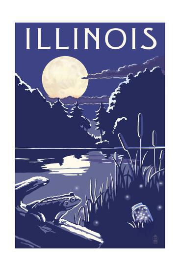 Illinois - Lake at Night-Lantern Press-Art Print