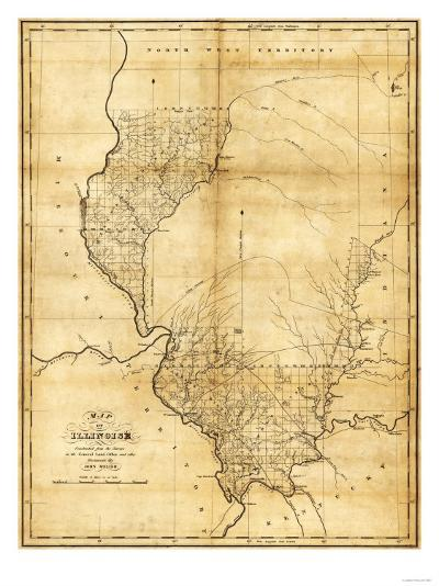 Illinois - Panoramic Map-Lantern Press-Art Print