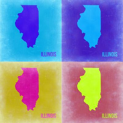 Illinois Pop Art Map 2-NaxArt-Art Print