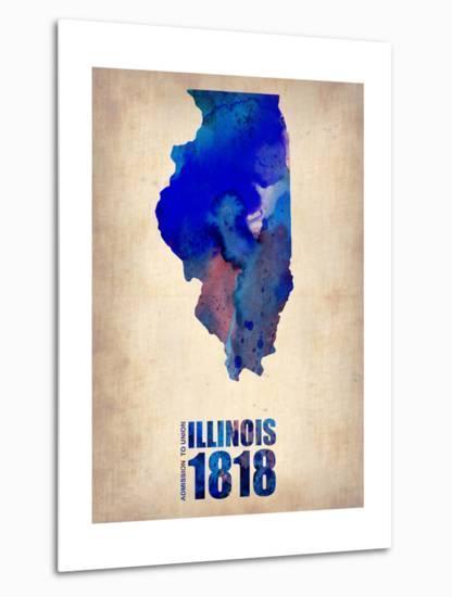 Illinois Watercolor Map-NaxArt-Metal Print