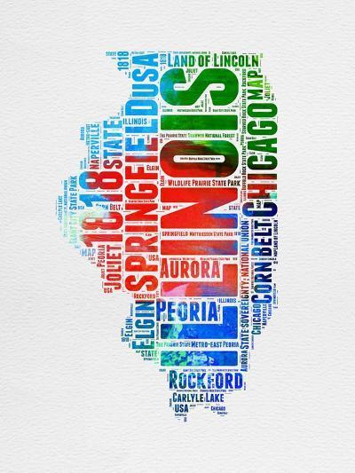 Illinois Watercolor Word Cloud-NaxArt-Art Print