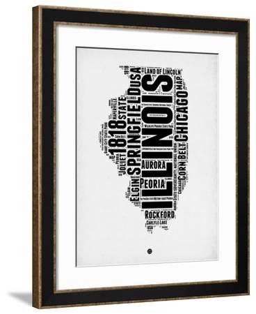 Illinois Word Cloud 2-NaxArt-Framed Art Print