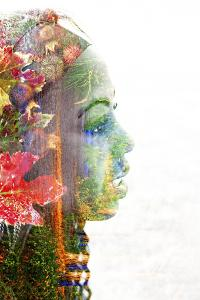 Double Exposure Portrait of A Young Woman with Colorful Flowers by illu