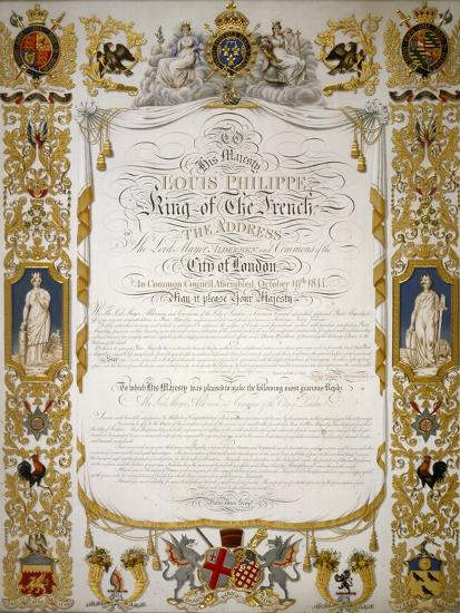 Illuminated Address from the Corporation of London to Louis Philippe of France, 1844-H Dowse-Giclee Print
