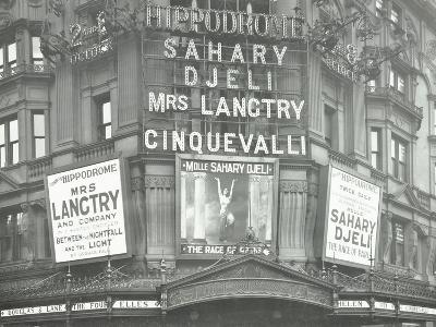 Illuminated Advertisements on the Front of the Hippodrome, Charing Cross Road, London, 1911--Photographic Print
