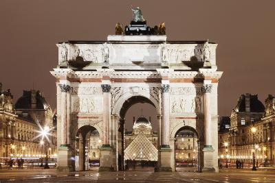 Illuminated Arc De Triomphe Du Carousel and Louvre Museum-Markus Lange-Photographic Print