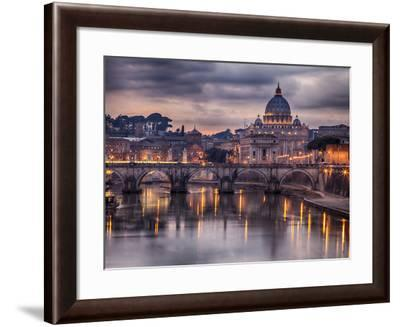 Illuminated Bridge in Rome, Italy. Saint Peters Basilica in the Background.-Sophie McAulay-Framed Photographic Print