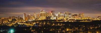 Illuminated Building at Night, Edmonton, Alberta, Canada--Photographic Print