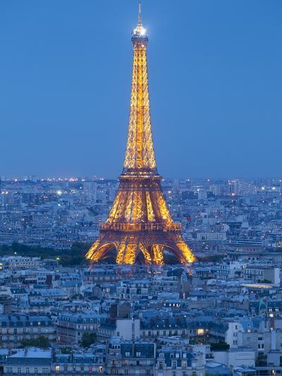 Illuminated Eiffel Tower, Viewed over Rooftops, Paris, France, Europe-Gavin Hellier-Photographic Print