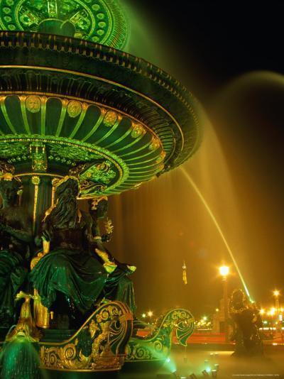 Illuminated Fountain in Place De La Concorde, Paris, France-Richard Nebesky-Photographic Print