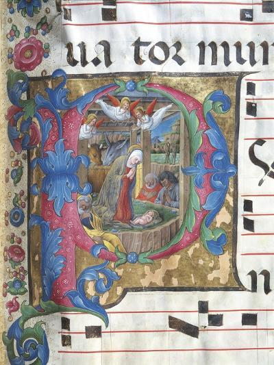 Illuminated Initial Capital Letter Depicting the Nativity--Giclee Print