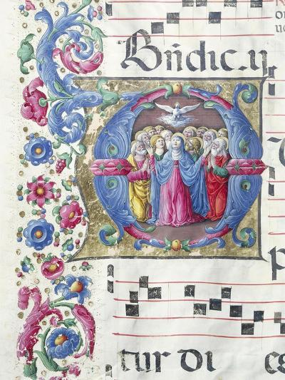 Illuminated Initial Capital Letter Depicting the Pentecost--Giclee Print