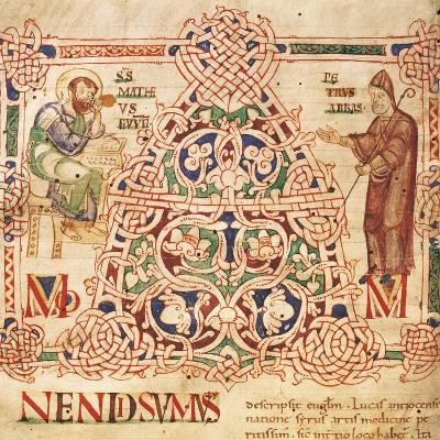 Illuminated Initial Capital Letter from a Gospels from San Benedetto Po, 1254, Italy--Giclee Print
