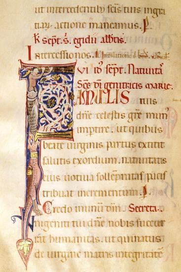 Illuminated Initial Capital Letter from a Gospels from San Benedetto Po--Giclee Print