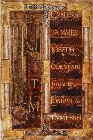 Illuminated Initial Capital Letter from the Godescalco Gospels, Germany 8th Century--Giclee Print
