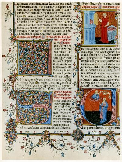 Illuminated Initial Letters with Scenes from the Life of St Jerome, Late 14th Century--Giclee Print