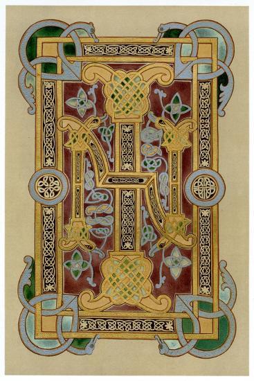Illuminated Initials I and N, 9th Century--Giclee Print