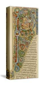 """Illuminated Letter """"P"""" Showing King Solomon Writing His """"Proverbs"""", from a German Bible"""