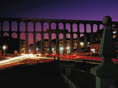 Illuminated Lights at Night by Aquaduct in Segovia, Spain--Photographic Print