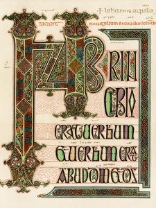 Illuminated Manuscript Page of the Lindisfarne Gospels, England, Circa 700 AD