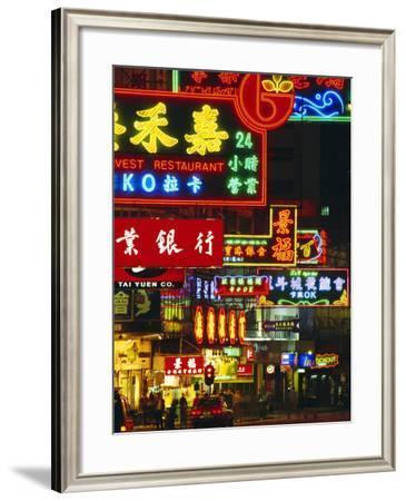 Illuminated Neon Street Signs, Nathan Road in Tsimshatsui, Hong Kong-Gavin Hellier-Framed Photographic Print