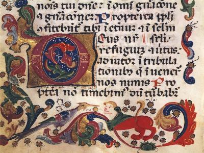 Illuminated Page from Book of Hours, Manuscript, Detail--Giclee Print