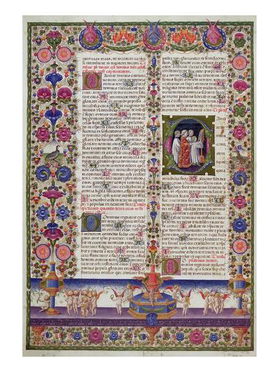 Illuminated Page from the Book of Psalms, from the Borso D'Este Bible. Vol 1 (Vellum)-Italian-Giclee Print