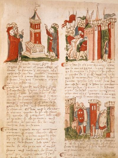 Illuminated Page from the Chronicles of Venice, Manuscript, Italy 15th Century--Giclee Print